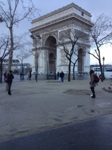 Arc de Triomphe on a cloudy Paris day.