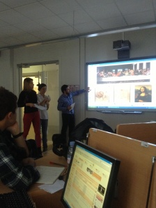 Oslin, Paula and Fabio giving a presentation in French on de Vinci. An argument ensued when Fabio (from Italy) insisted on saying de Vinci like and Italian and the teacher insisted that he give it a French pronunciation.