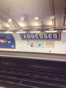 This metro is the deepest one in Paris. It is five or six flights of stairs below the street level.