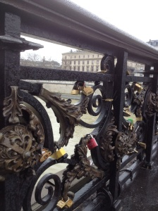 Lovers locks on a bridge over the Seine.