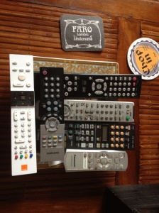 These remote controls work the living room entertainment system. Pretty obvious that a man owns this apartment.