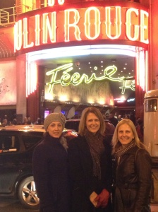 Joan, Alison and Janet after the show at Moulin Rouge. The horse trailer is for the show there was one bizarre act with circus ponies.