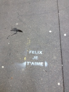 These stencils showed up all over our neighborhood the week of Valentine's Day!  Someone really loves this Felix character.