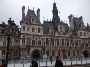 City Hall (Hotel de Ville) with a temporary ice rink in front of it. Do you think they copied OKC?