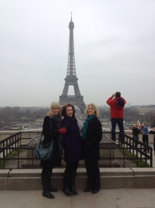Barb, Joan, and Marsha at the Eiffel Tower.