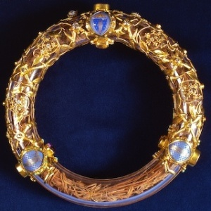 The Crown of Thorns, encased in glass.