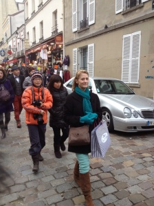 Marsha clinging to her $2.50 worth of fabric samples because of the pickpockets warnings. Ths was the day we went to the fabric store and the up the hill to Sacre Coeur.