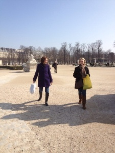 Joan and Marsha strolling in the Tuillerie Gardens.