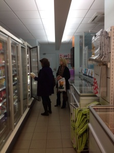 Joan and Marsha shopping for lunch at Picard.