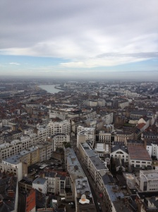 View of Nantes from the tower. The river seen is the Loire.