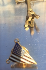 Tiny American flag with a tiny Eiffel Tower