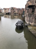 Boat in Ghent on a Rainy Day