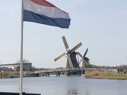 The Dutch Flag Flying at Kinderdijk